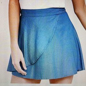 Blue chambray wrap mini skirt